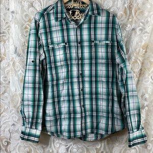 Airwalk Green Button up flannel plaid shirt Large